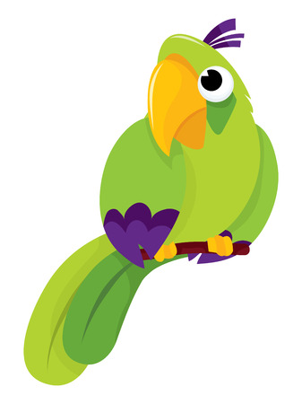 parakeet: Cute little green parrot vector cartoon illustration.