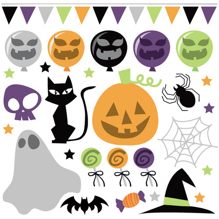 stage costume: An assortment of different retro halloween design elements vector illustration.