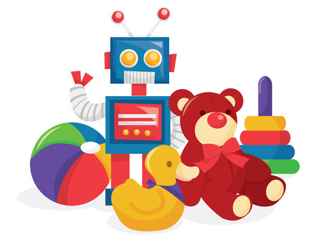 A cartoon vector illustration of childrens toy collection like robots, ball, teddy bear and rubber duck.