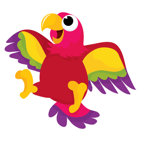 A cartoon vector illustration of a happy parrot flying in air.