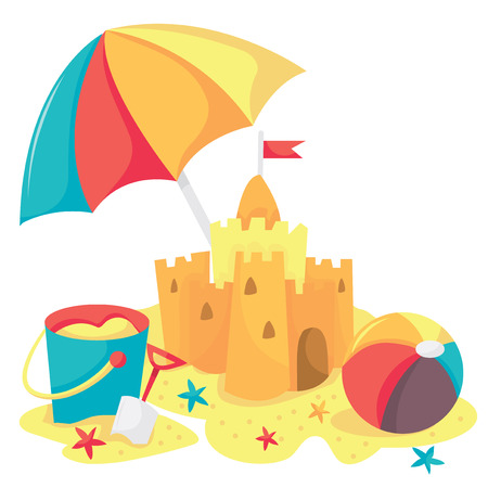 sandcastle: A cartoon vector illustration of sandcastle, bucket, beach ball and beach umbrella. Illustration