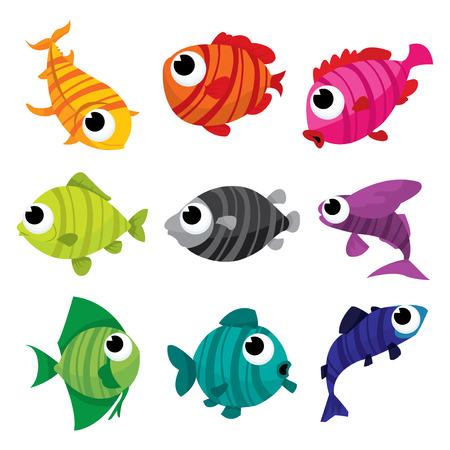 A cartoon vector illustration set of rainbow coloured stripey fishes.