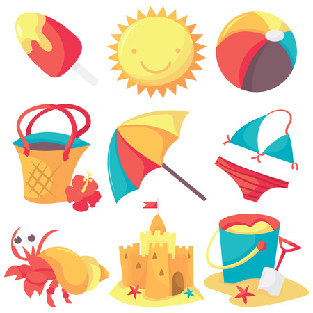 A set of cute summer and beach icons.