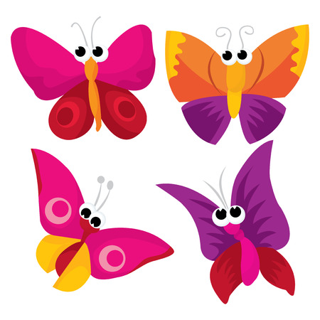 mariposa caricatura: Una ilustración vectorial de dibujos animados conjunto de mariposas lindas.