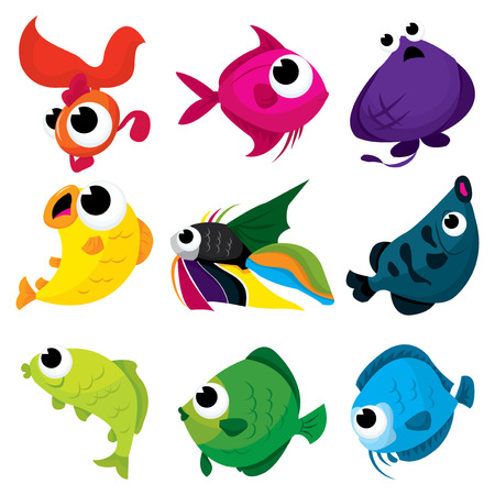 A cartoon vector illustration set of fishes from the sea. Illustration