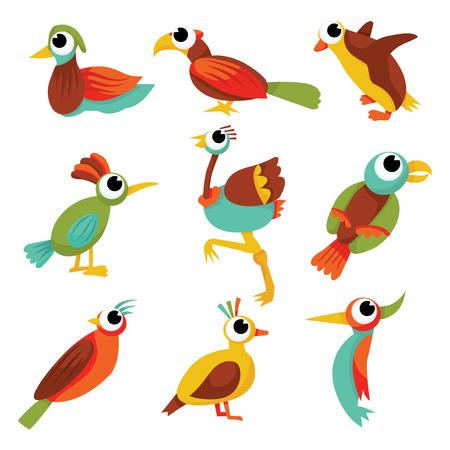 A collection of cute cartoon random birds stock vector illustration. Imagens - 39947838