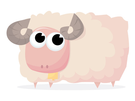animal themes: A cute fluffy sheep ram with tiny bell cartoon vector illustration.