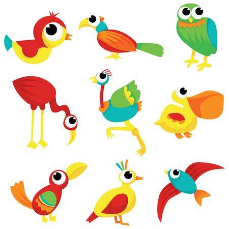 A flock of different cartoon birds vector stock illustration. Vector