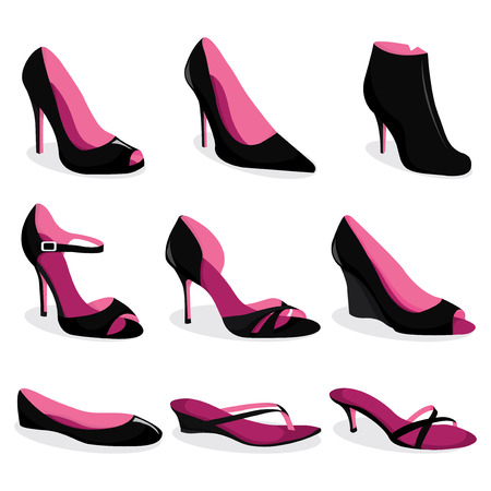 heeled: A vector illustration set of womens dress shoes and casual shoes.