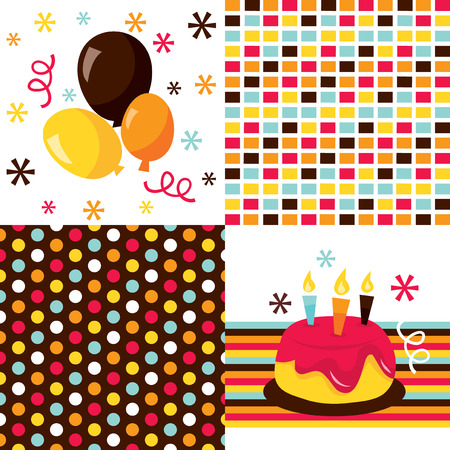 public celebratory event: Birthday cake, balloons and two colorful birthday pattern vector stock illustration.