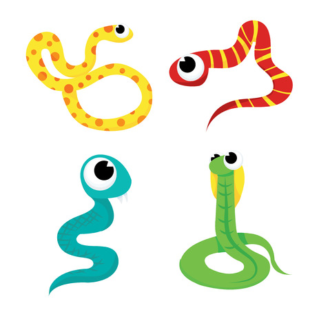 A cartoon vector illustration set of four different scaly and colorful snakes. Illustration