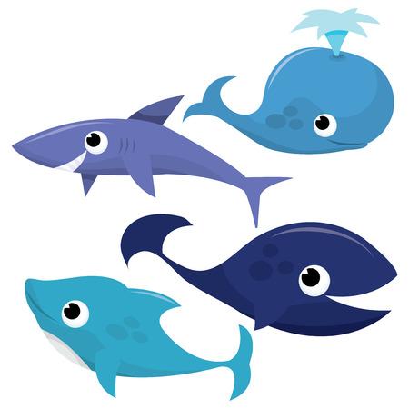 delfin: Zestaw wektora Cartoon cute stworzeń morskich wielorybów, rekinów i delfinów ilustracji.
