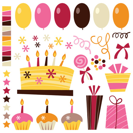 multi coloured: A vector illustration set of cute retro birthday elements like birthday cake, balloons, gifts, cupcakes, ribbons, stars and confetti.