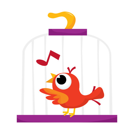 song bird: Singing song bird in its cage.