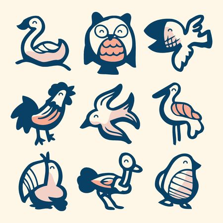 A vector illustration of different bird in ink stained doodle style. Vector