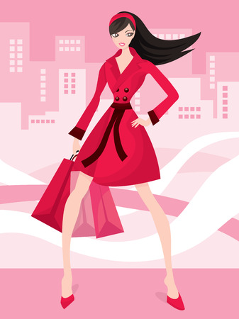 retail place: A cute fashionable shopaholic vector stock illustration. Illustration