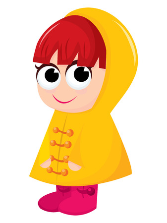 redheaded: Cute girl in yellow raincoat and rain boots cartoon vector illustration. Illustration