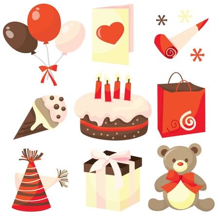 A set of cartoon vector illustration surprise birthday party clip art. Vector