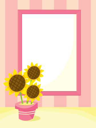 plant pot: Framed background with sunflower plant pot cartoon vector illustration. Illustration