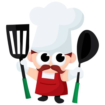 ladles: A cute chef and kitchen utensils cartoon stock illustration.