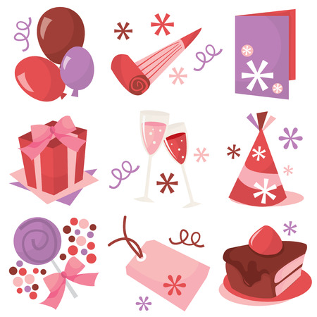 Fun party icons set vector illustration. Vector