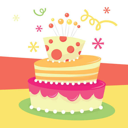 tier: A vector illustration of a cute whimsical tier mad hatter birthday cake.