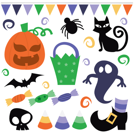 whimsical: A vector illustration set of whimsical halloween decoration elements.