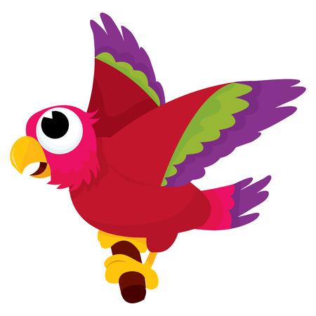 rúdon ülés: A rajzfilm vektoros illusztráció egy papagáj rúdon ülés.