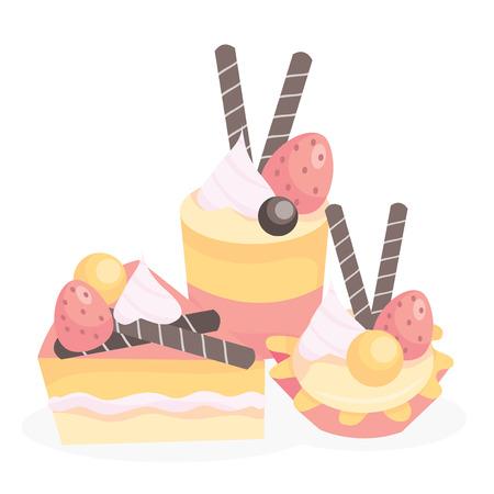indulgência: A vector illustration of sweet tasty treats like cakes and tarts.