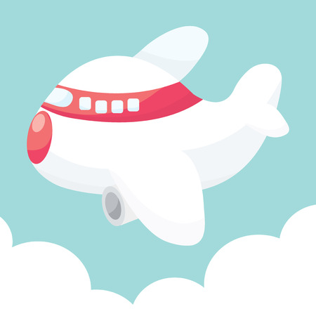 A cartoon vector illustration of cute airplane up in the sky.
