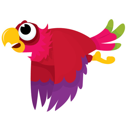 animal themes: A cartoon vector illustration of a happy parrot flying in air.