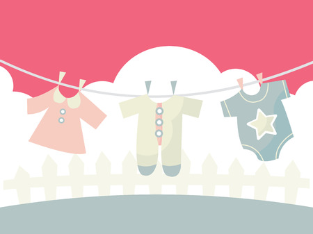 clothes peg: A cartoon vector illustration of cute baby clothings on a washing line.