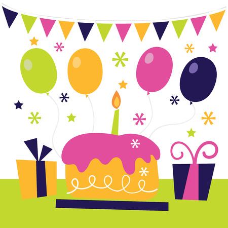 サプライズ誕生日パーティーの気まぐれなレトロなベクター イラストです。