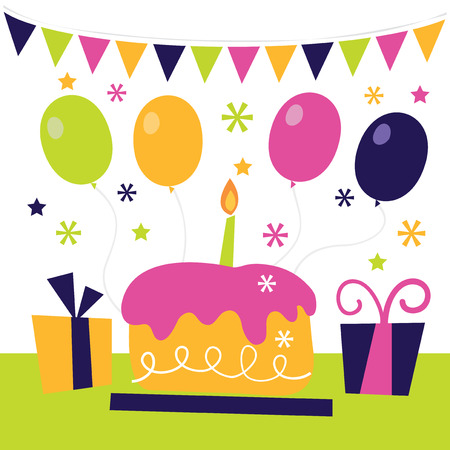 A whimsical retro vector illustration of a surprise birthday party.