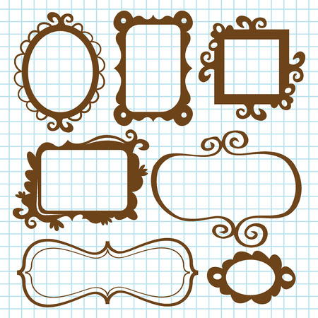 whimsical: A set of fanciful and whimsical frames and bookplates in doodle style. The grid background is in a separate layer from the design elements.