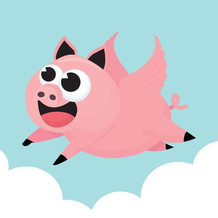 sayings: Een cartoon vector illustratie van de beroemde wanneer varkens vliegen uitspraken. Stock Illustratie