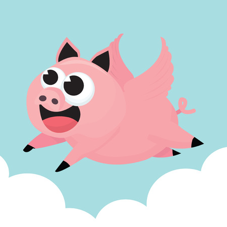 A cartoon vector illustration of the famous when pigs fly sayings.
