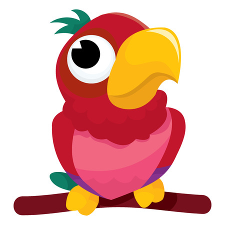 multi coloured: A cartoon vector illustration of a cute parrot. Illustration