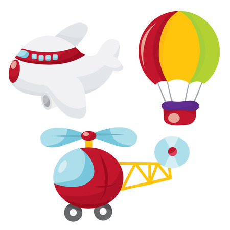 A cartoon vector illustration of cute air transportation. Ilustracja