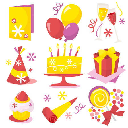 suprise: A retro birthday party icons vector illustration.