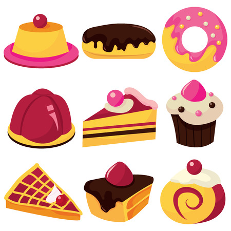 eclair: A collection of pastries and sweets stock vector illustration. Illustration