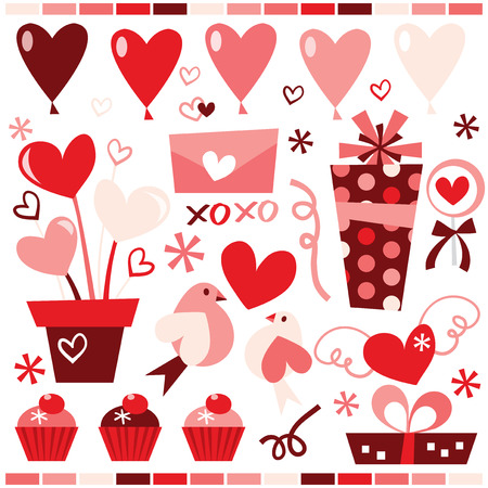 clip arts: A stock vector illustration collection of cute retro clip arts for valentines day and romance.