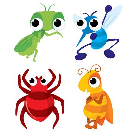Een vector illustratie set van vier verschillende cartoon ongedierte zoals sprinkhanen, muggen, spinnen en bijen.