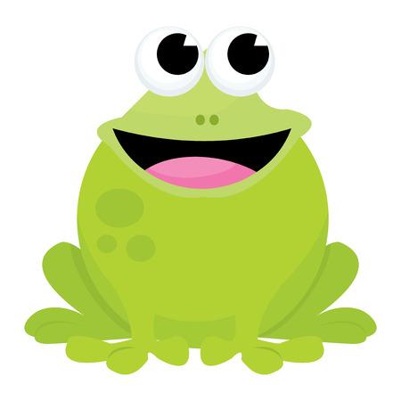 A cartoon vector illustration of a happy smiley frog.