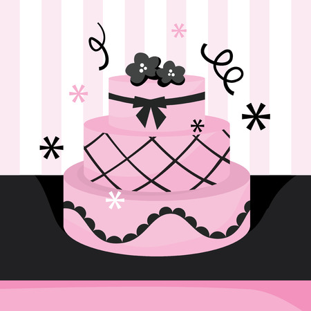 tier: A vector illustration of a cute sweet pink three tier cake with ribbons.