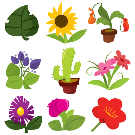 flora  vector: A set of nine different cute cartoon vector flowers and plants illustration.