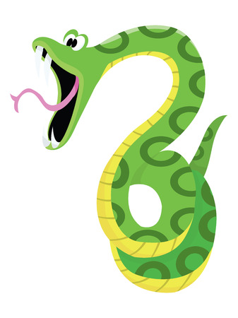 open mouth: A cartoon vector illustration of a shocked green snake.