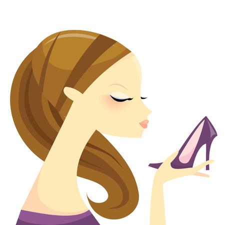 admiring: A stylized fashion illustration of a cute fashionista girl holding a stiletto.