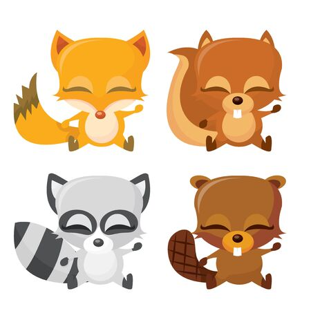 A cartoon vector illustration of four cute and happy forest animals. Vector