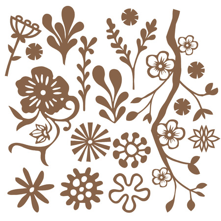 flora  vector: A vector illustration set of foliage design elements in freehand doodle style.